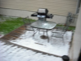 7/5/13 hail storm, it's blurry but you can see the hail.