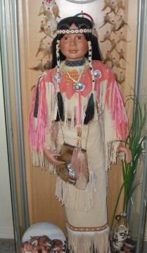 (c) JLPhillips 2014, Native American doll, I received as a present from Mom, It's 4 ft tall.