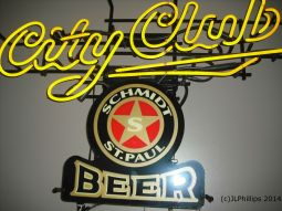 Twisted letters of a beer sign