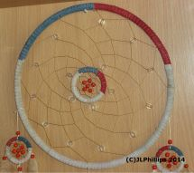 Twisted bead, leather work on dreamcatcher